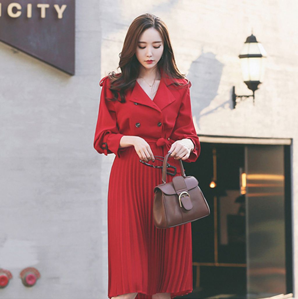 Cotton Wool Suit Collar Pleated Dress-Red Dress.jpg