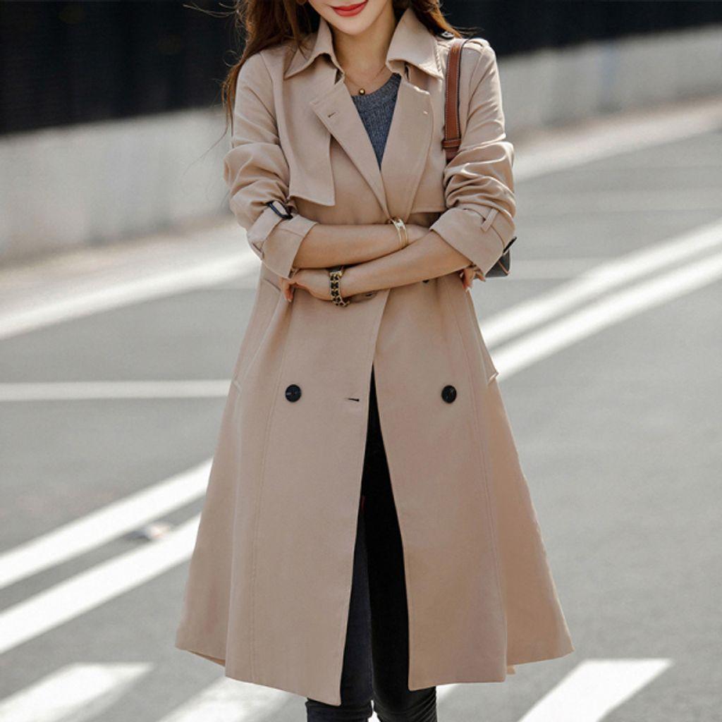 Mid Length Double-breasted Coat-Khaki jacket.jpg