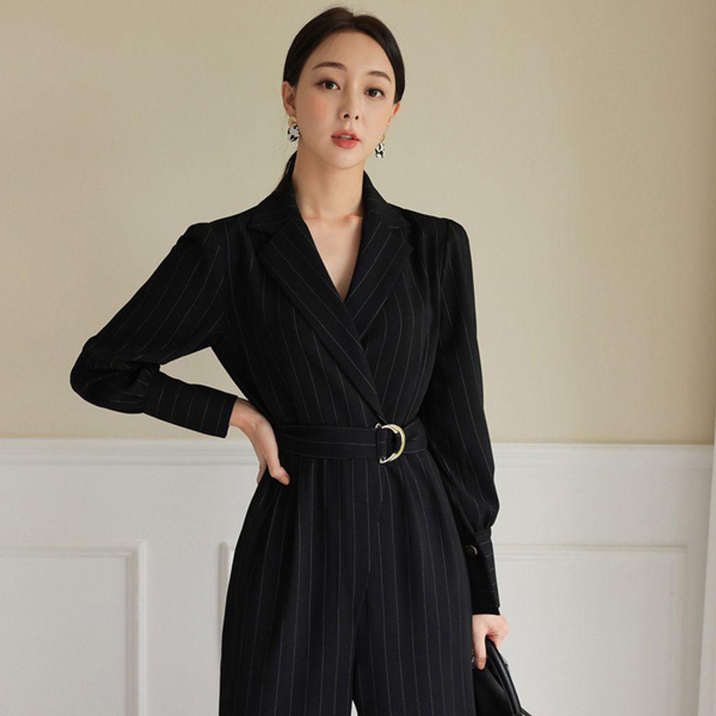 Suit Collar Black Striped Wide-leg Pants Professional Jumpsuit.jpg
