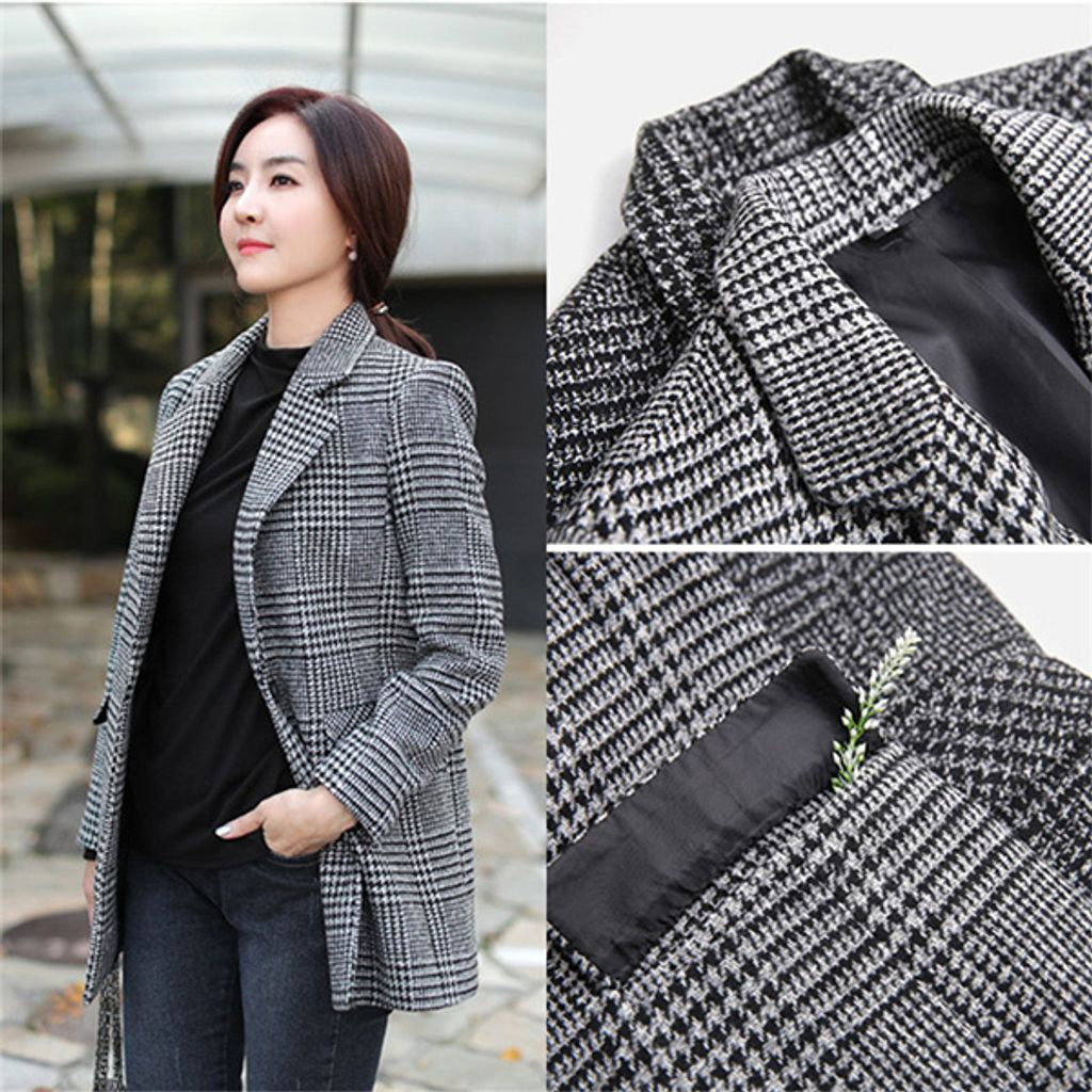 Double-breasted Houndstooth Woolen Women's Casual Suit Jacket-Gray grid.jpg