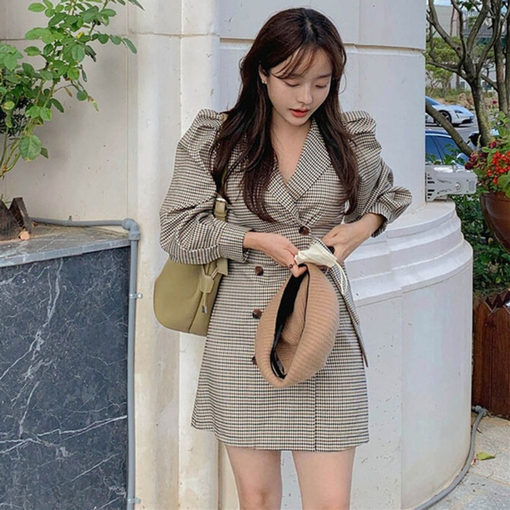 Korean Chic Classic Retro Houndstooth Double Breasted Mini Dress.jpg