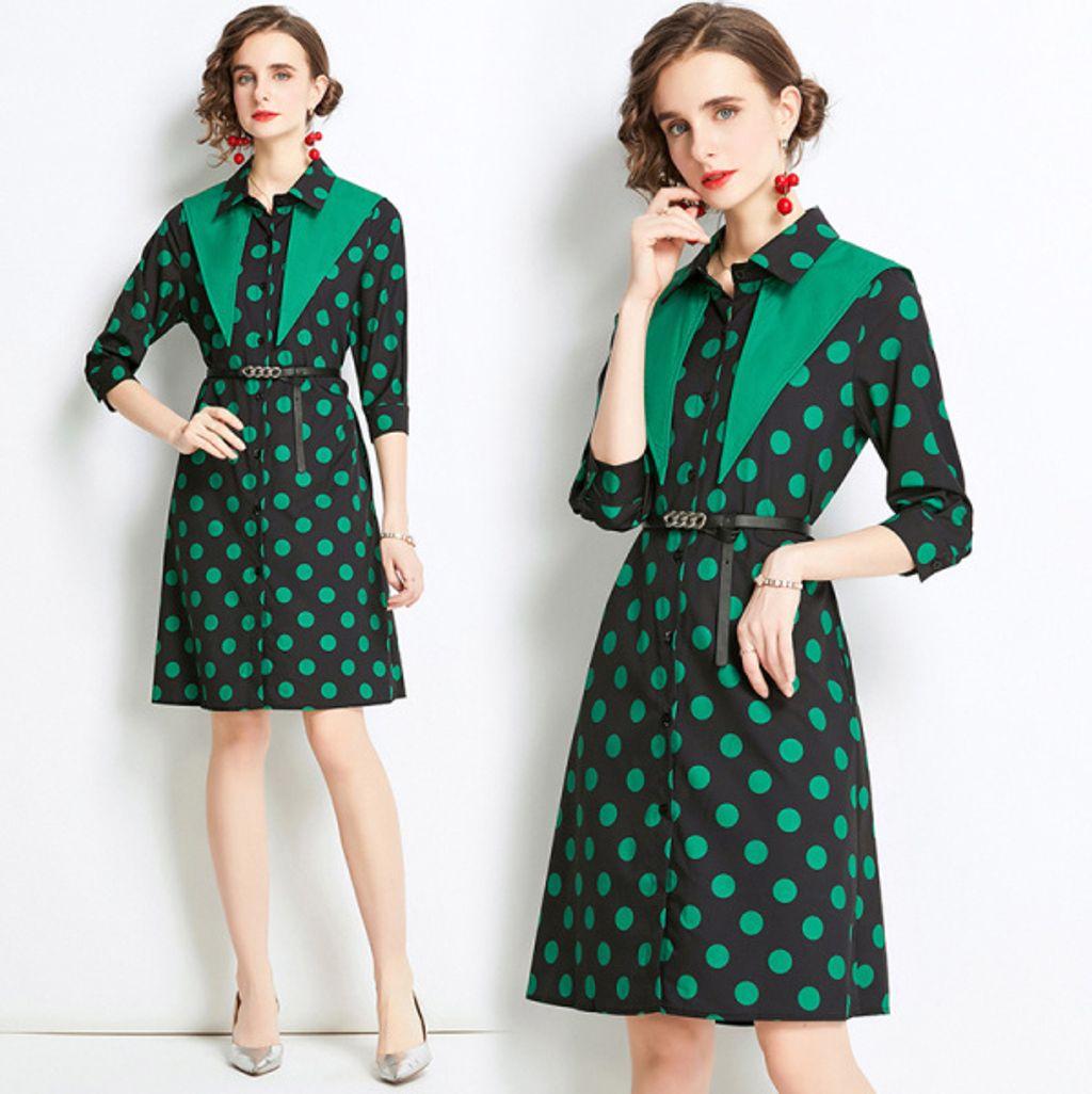Green Black Polka Dot Dress.jpg