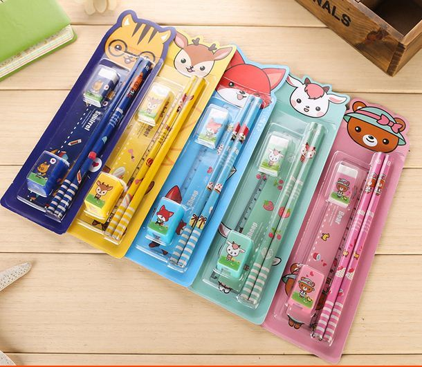 Korean 5pcs/set Kid Cartoon School Stationery Supplies Set Birthday Gift
