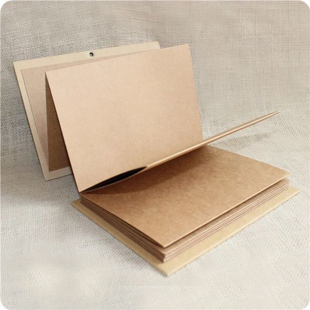 Hand Made Hardcover Kraft Paper Photo Album Diy Scrapbook Gatefold