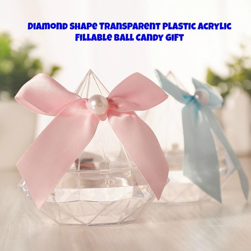 Diamond Shape Transparent Plastic Acrylic Fillable Ball Candy Gift