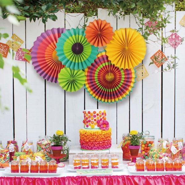 Colorful Paper Fan Flower Wedding Wall Backdrop Kid Birthday Party Decor
