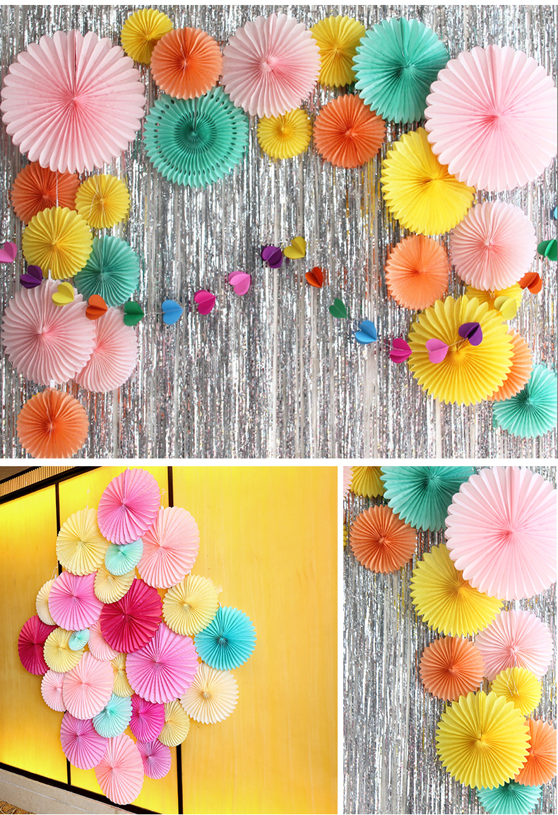 15cm Tissue Paper Fan Flower Decoration Wall Birthday Party – Easy ...