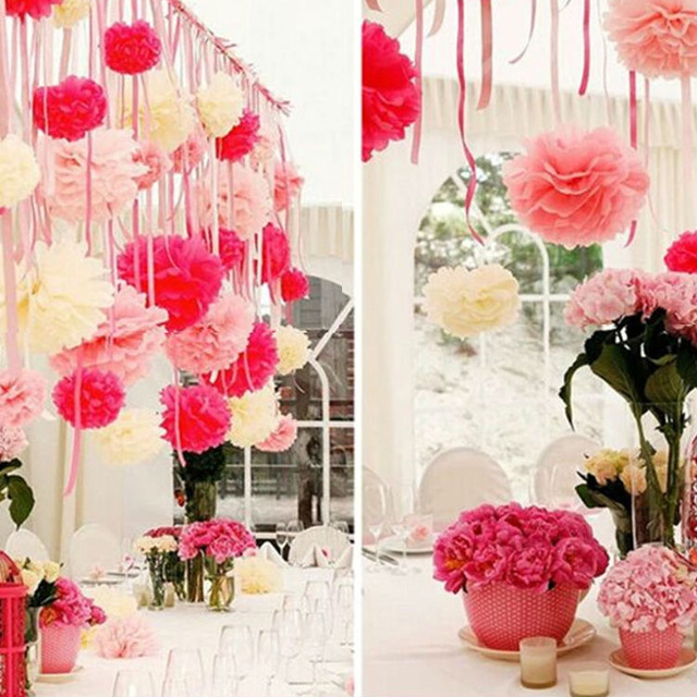 10cm diy tissue paper flower pom poms party wedding room decoration 15cm 6inch 5pcs lot small hanging tissue paper mightylinksfo