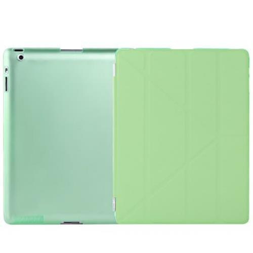 ULTRA SLIM REMOVABLE PU LEATHER PC BACK COVER SMART SLEEP MULTI-FOLDING STAND FOR IPAD 2 / 3 / 4 (LIGHT GREEN)