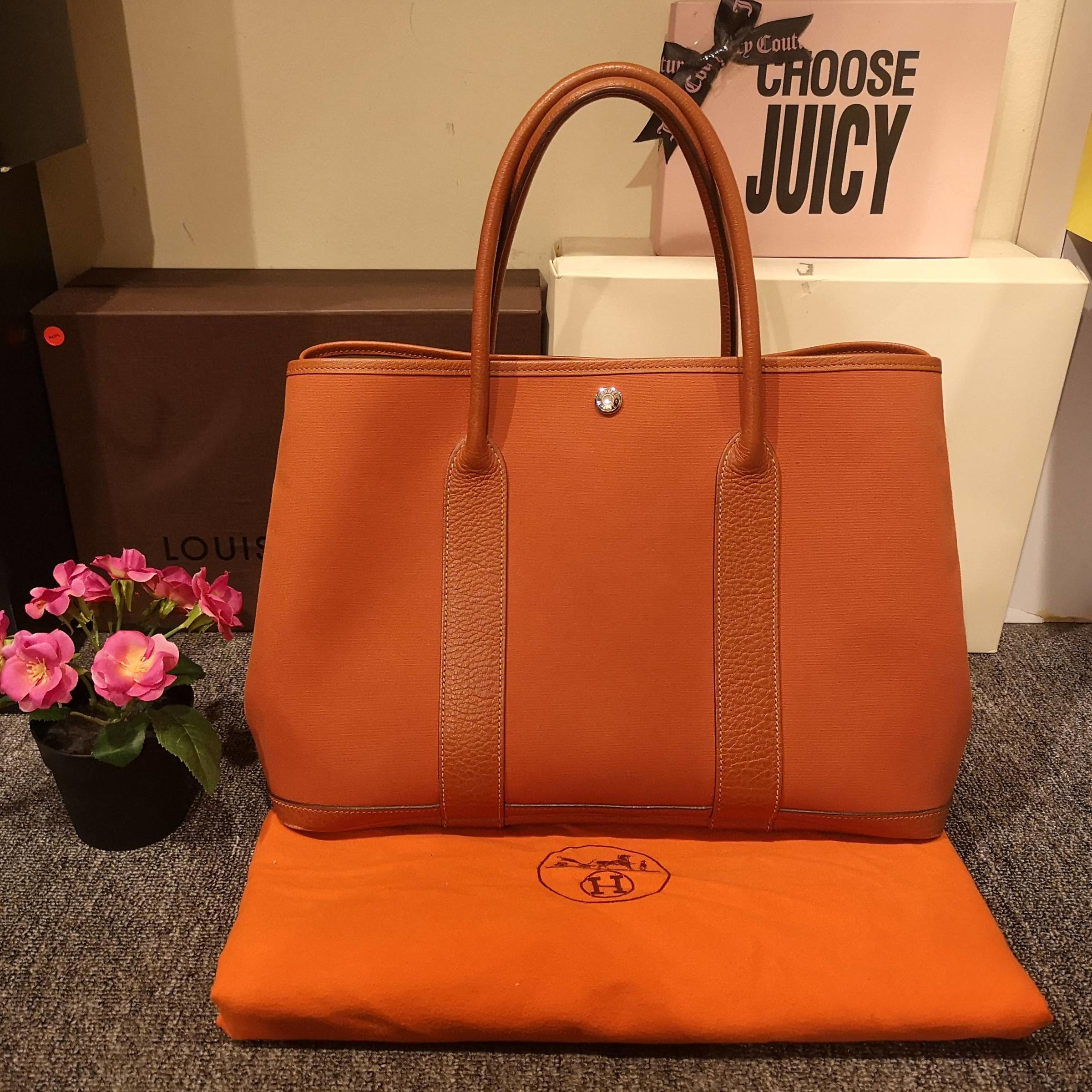Hermes Canvas and Leather Garden Party 36 (Orange) – Luxury Valley ... 3d98a7b0fb2c9