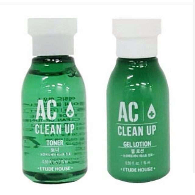 ETUDE HOUSE AC CLEAN UP TONER 15 ML + GEL LOTION 15 ML