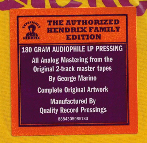 THE JIMI HENDRIX EXPERIENCE Are You Experienced (Reissue, Remastered, Repress, Stereo, 180 Gram) LP3.jpg