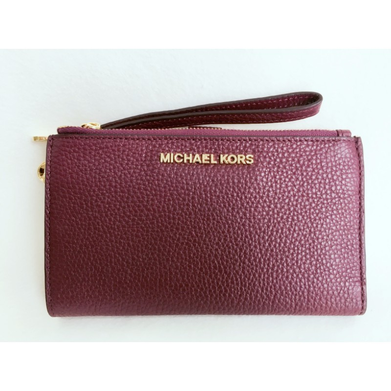 321a3b072 Home › Michael Kors Jet Set Travel Double Zip Wristlet Wallet In Merlot.  NEW ARRIVAL IMG_6248.jpg