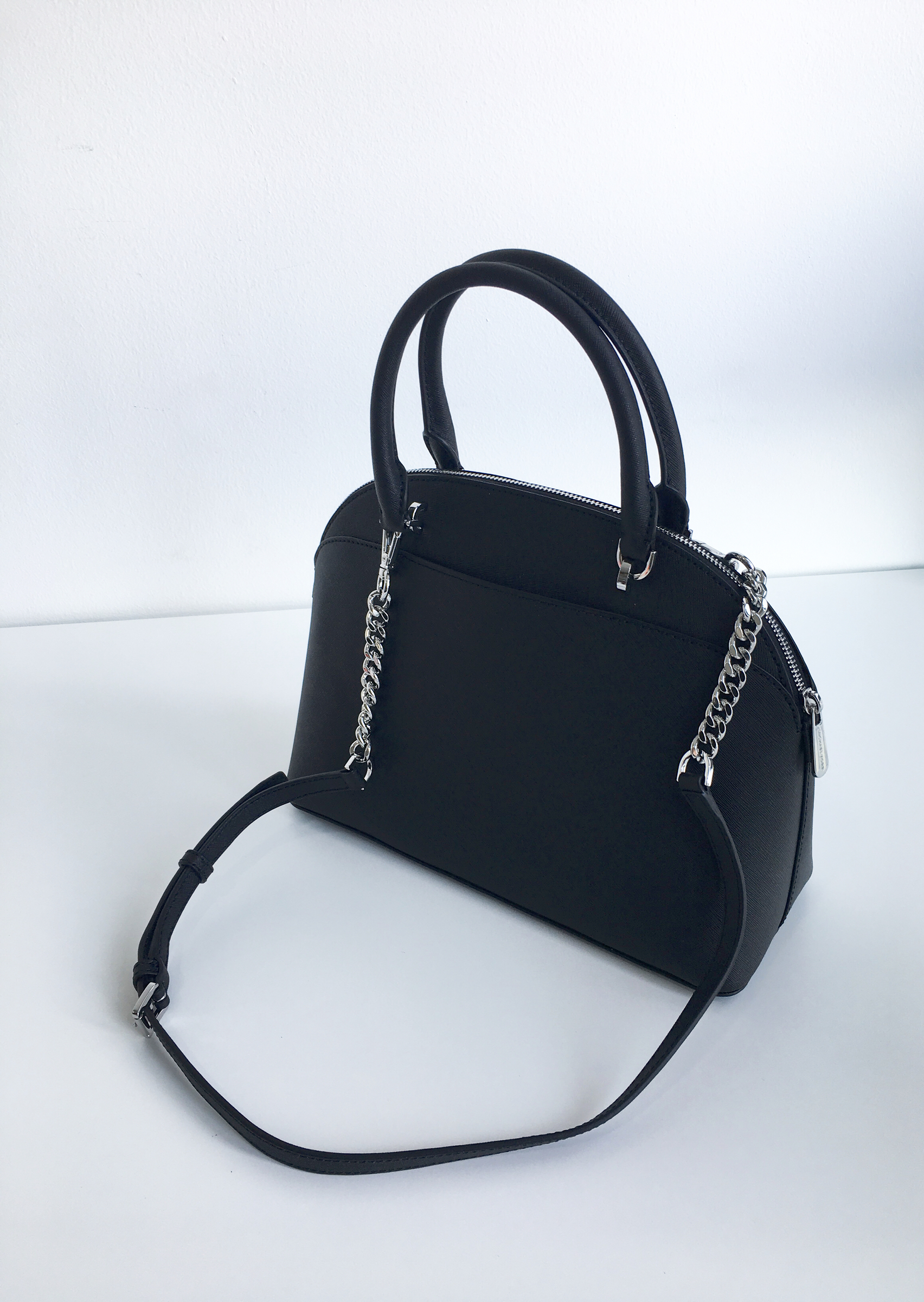 01a53c49d277 MIchael Kors Emmy Large Dome Satchel In Leather Black – Tifanc Malaysia