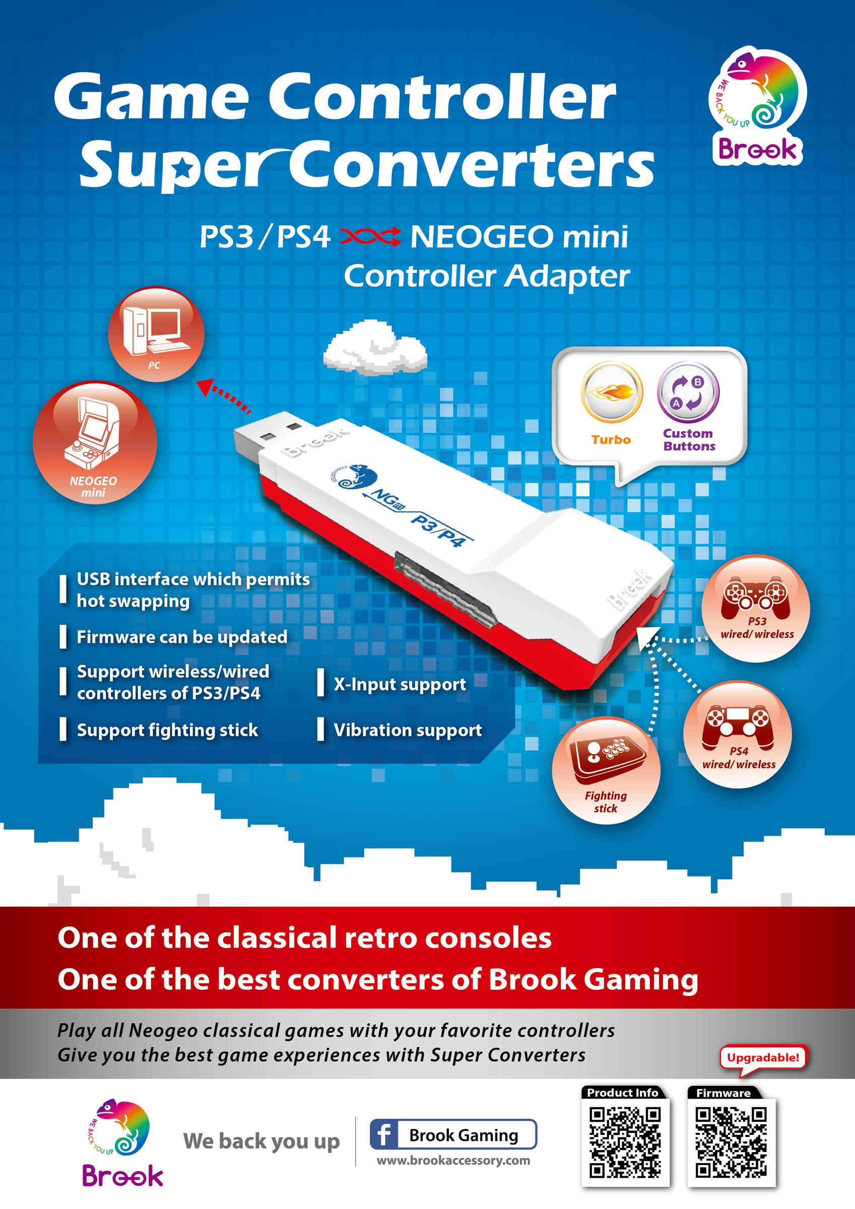 Brook Design - P3/4-NGm Game Controller Super Converters PS3/PS4 to Neogeo  Mini