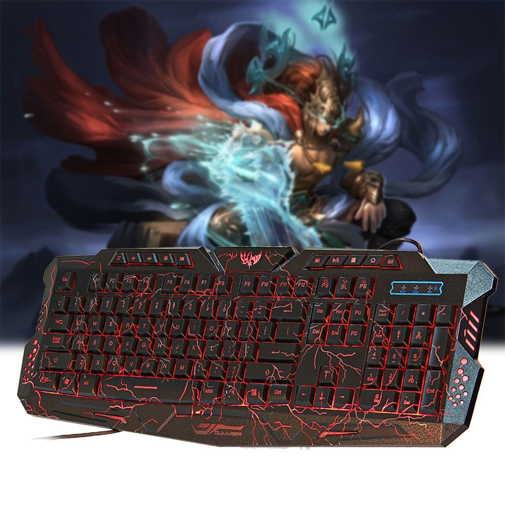 M-200 3 COLORS BACKLIGHT WIRED GAMING KEYBOARD FIRE CRACKS USB POWERED FOR GAMERS
