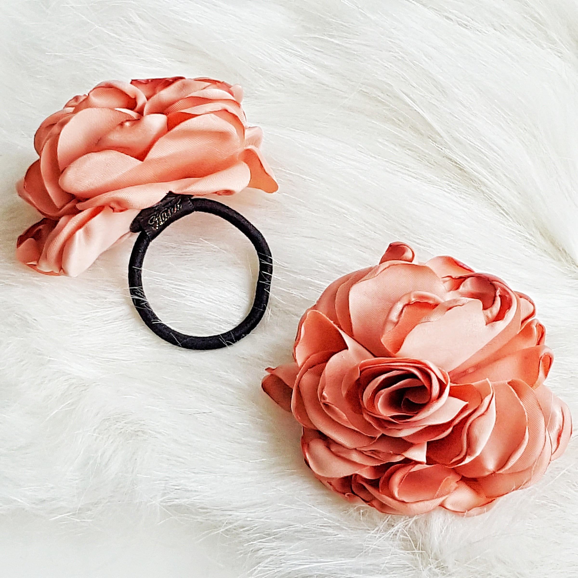 Elegant Large Rose Flower Hair Tie Ponytail Holder Deseph
