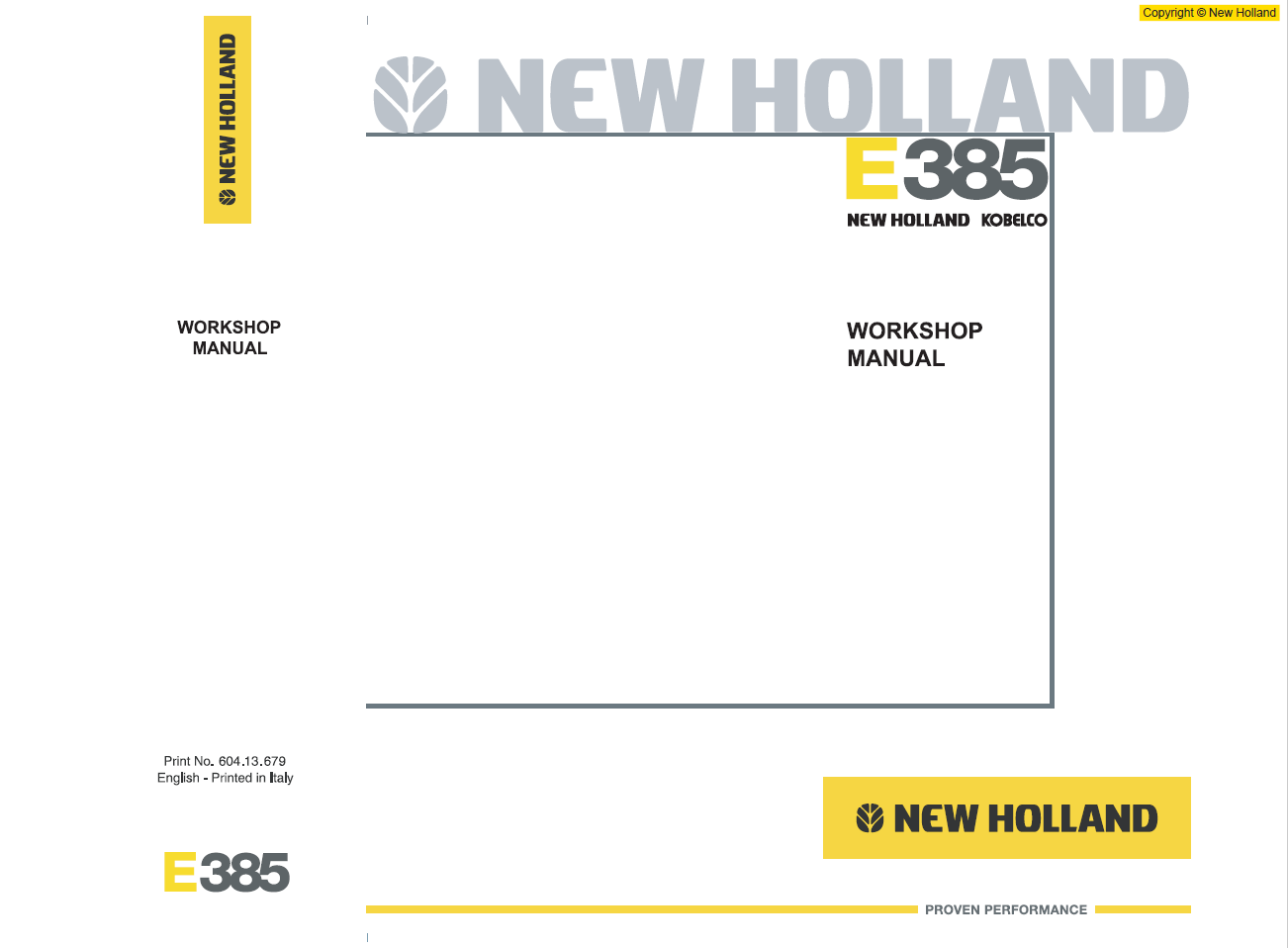 New Holland Construction Crawler Excavator Workshop Manual E385 Tier 3  604 13 679 00 English