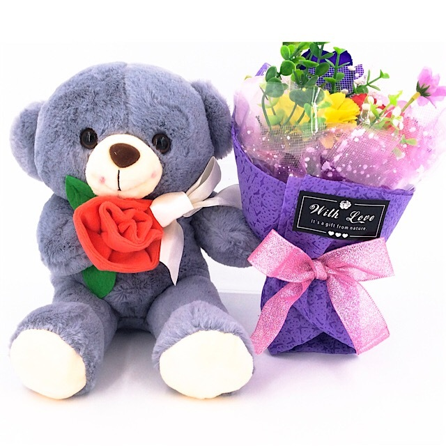 Bear with flower bouquet CB1129 – Trendy Gift House