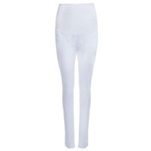 COTTON BLEND PREGNANT WOMEN PANTS (WHITE)
