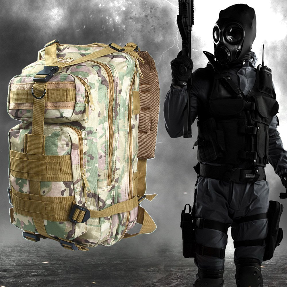 3P MILITARY TACTICAL 30L OXFORD BACKPACK FOR CAMPING TRAVELING (CP CAMOUFLAGE)