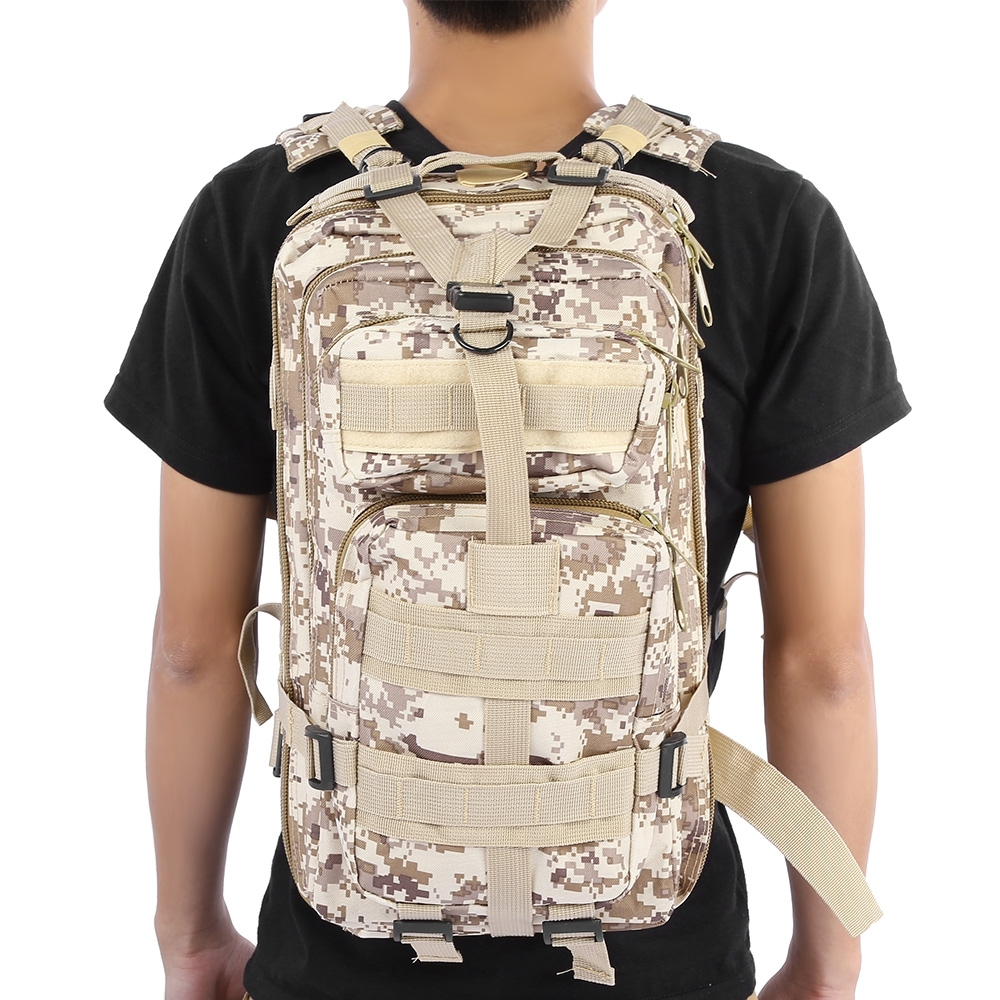 3P MILITARY TACTICAL 30L OXFORD BACKPACK FOR CAMPING TRAVELING (MARPAT DESERT)