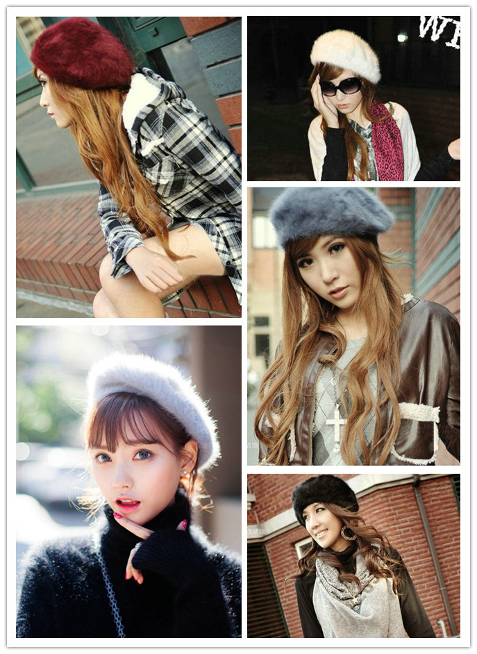 Ready stock DT212=winter Korean rabbit fur beret 秋冬韩版兔毛贝雷帽
