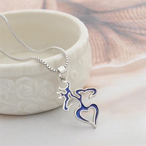 Sue Phil New Brand Design Elk Heart Pendant Necklaces Fashion Deer  2.jpg