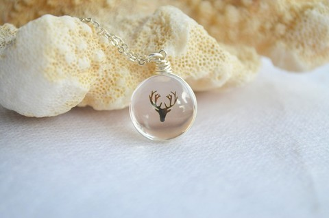 Deer Head Glass 925 Sterling Silver Chain Statement Necklace 10.jpg