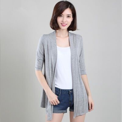 [Pre-Order] Spring Summer Knit Sweater Female Long Thin Cardigan