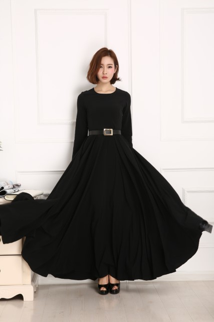 ​Pre-Order Round Neck Long Dress Women\'s Slim Dress