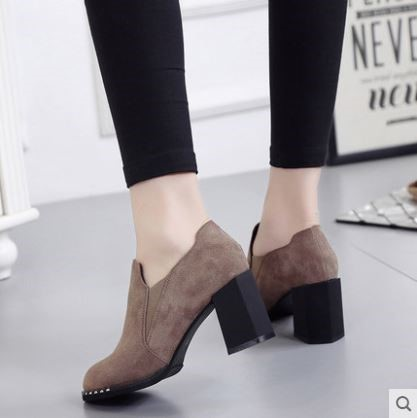 Pre-Order Women's Shoes Korean Version Thick Heeled Shoes
