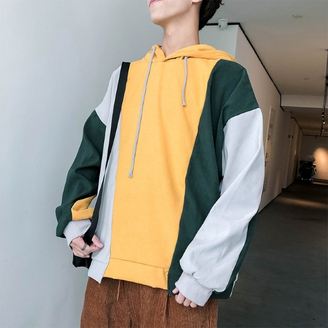Pre-Order Ulzzang Stitching Sweater Men\'s Hooded Loose Jacket Hip Hop Trend