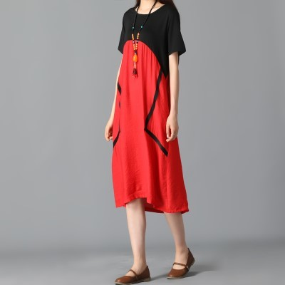 New-Arrival Large Size Women's Loose Retro Long Skirt Cotton Linen Dress Short Sleeve