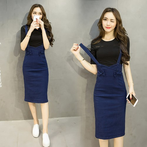 New-Arrival Fashion Knee-Length Denim Skirt Long Sleeve Shirt Two Pieces Hip Dress Bow Skirt