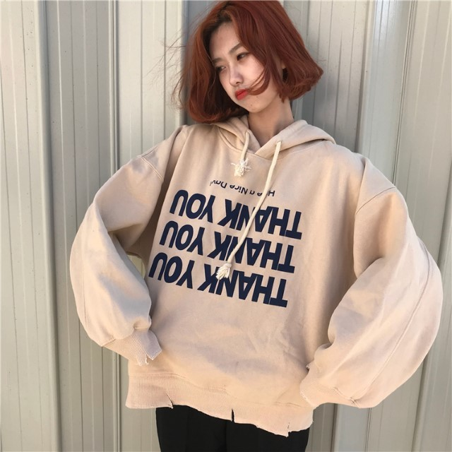 New-Arrival Harajuku Style Women\'s Thick Hoodies Printed Letter Long-Sleeved BF Sweater