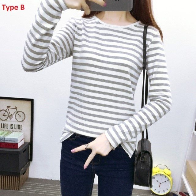 New-Arrival Long-Sleeved Striped T-Shirt Women's Cotton Large Size Shirt