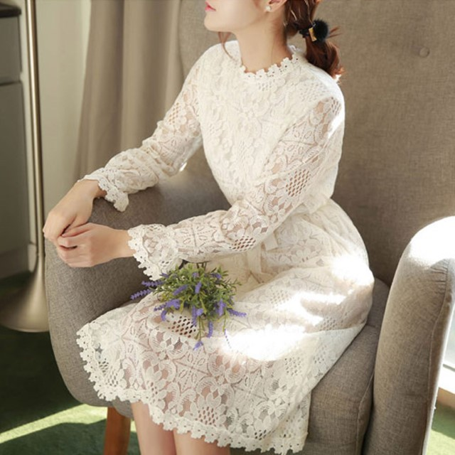 New-Arrival Collar Lace Dress Long-Sleeved Long Skirt Plus Size ROM
