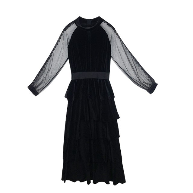 New-Arrival Female Dress Fashion Lace Long-Sleeved Layers Long Skirt