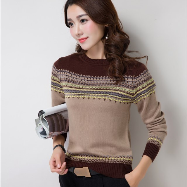 New-Arrival Female Loose Round Neck Knit Large Size Sweater