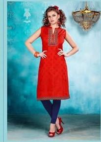 Kora Silk Kurtis - Red, Black and Orange