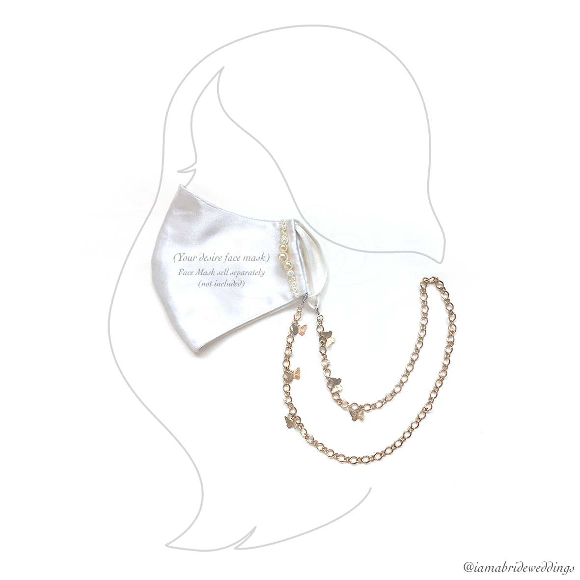 girl - butterfly tanned gold chain face mask lanyard 01.jpg