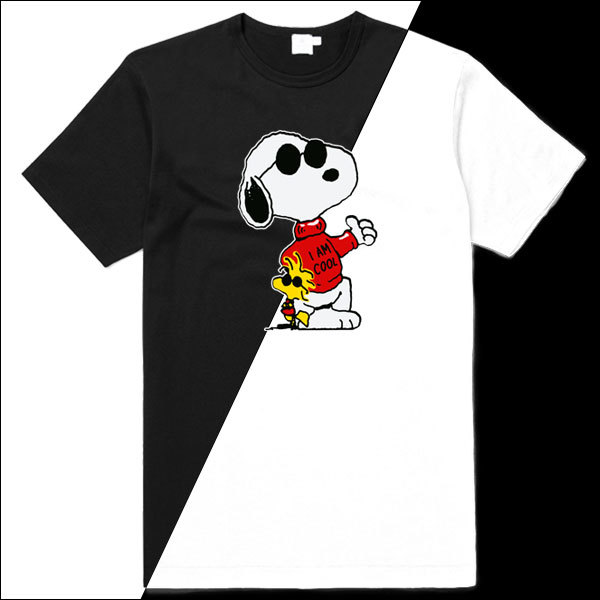 [Black/White] Snoopy & Woodstock Cool T-Shirt