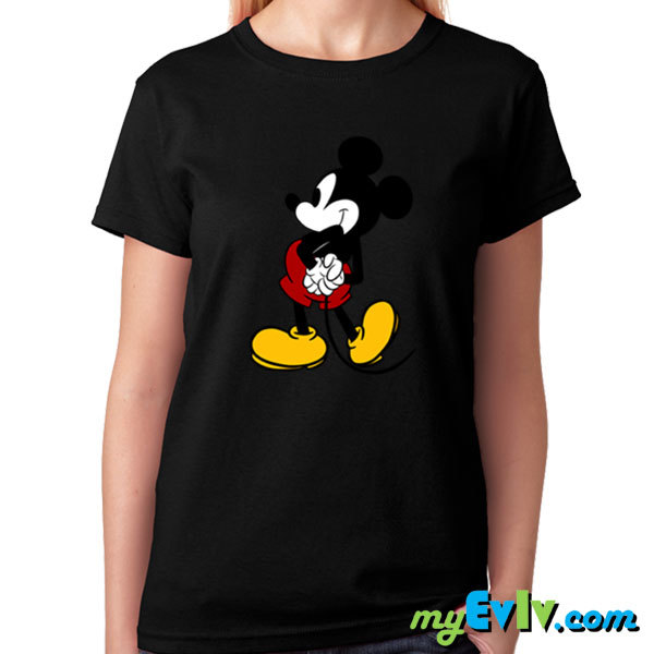 [Black/White] Mickey Back Stand T-Shirt