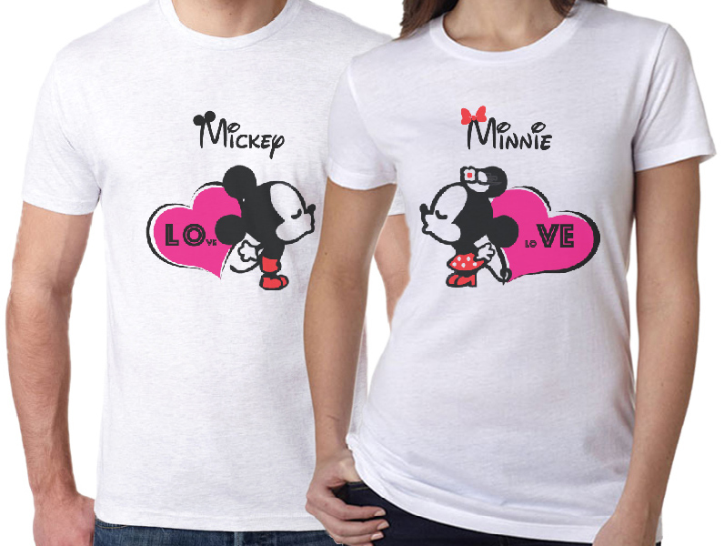 Mickey And Minnie Valentines Day Couple T Shirt