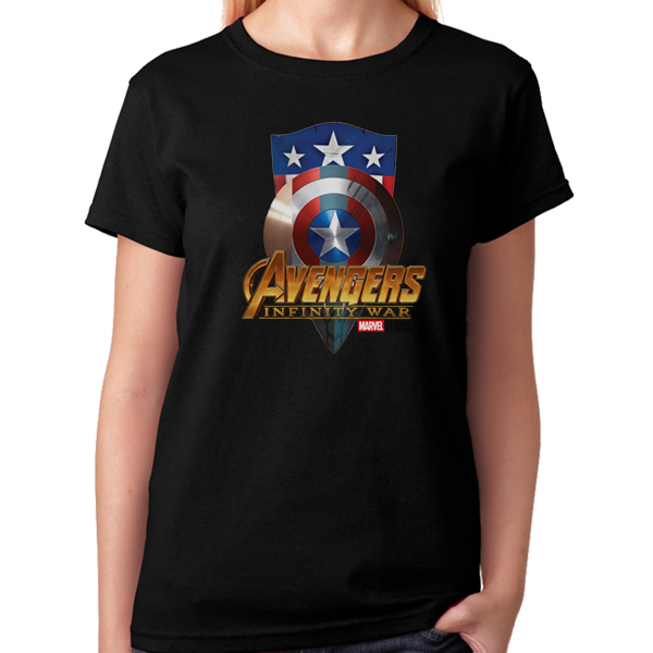 Avengers: Infinity War Captain America Shields Black T-Shirt