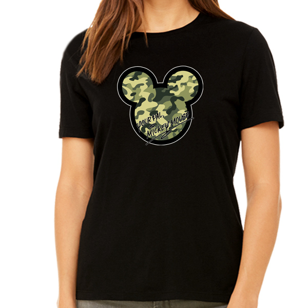 [Black/White] Your Pal Mickey Mouse Camouflage Pattern T-Shirt