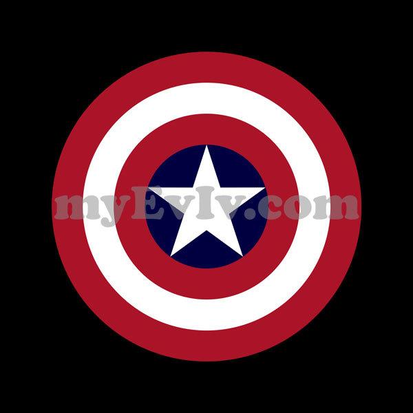 [Black/White] Captain America Round Shield T-Shirt
