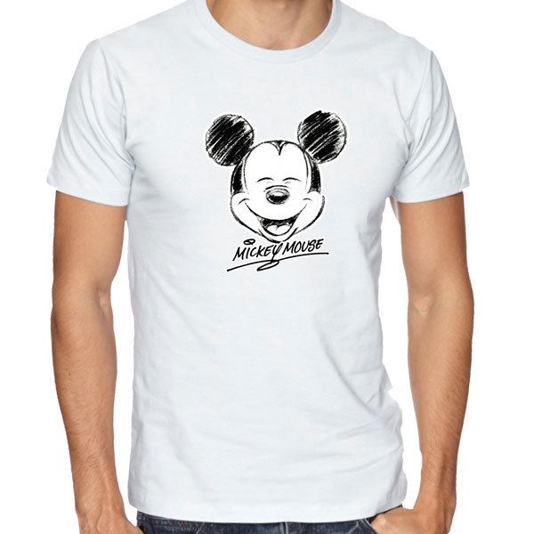 [Black/White] Mickey Mouse Head Sketch T-Shirt