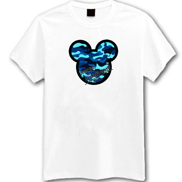 [Black/White] Your Pal Mickey Mouse Camouflage Blue Pattern T-Shirt